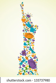 Spring flower and butterfly icons texture in New York Liberty statue skyline silhouette shape composition background. Vector illustration layered for easy manipulation and custom coloring.