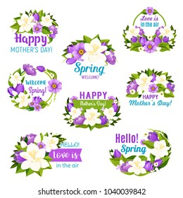 Spring flower and Mother Day floral bouquet icon set. Blooming flower with white and purple blossom of tulip, lily of the valley, azalea and crocus, green leaf and ribbon banner with greeting wishes