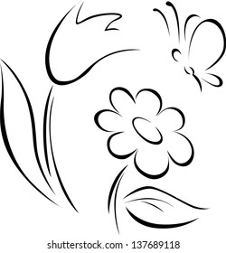 Black and white flowers outline images stock photos vectors spring flower outline mightylinksfo Gallery