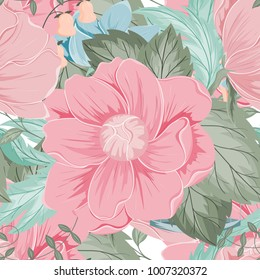 Spring flower seamless pattern for wallpaper, website or textile printing Hand drawn endless illustration of flowers on light background