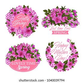 Spring flower wreath icon for Mother Day and Springtime holiday greeting card. Pink blossom of clover, azalea and phlox, blooming plant green leaf and branch with ribbon banner and greeting wishes