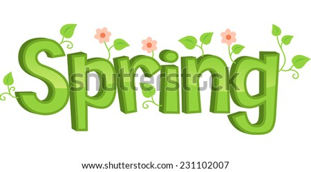 Spring Flowers Banner Vector Illustration Cartoon Stock Vector