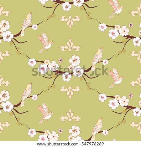Spring Flowers Birds Seamless Pattern Apple Stock Vector Royalty