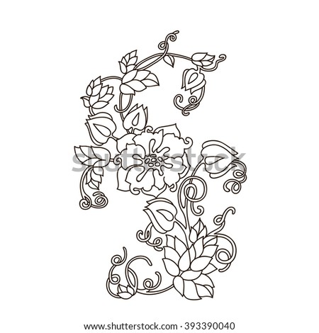 Spring Flowers Black White Bouquet Vector Stock Vector Royalty Free