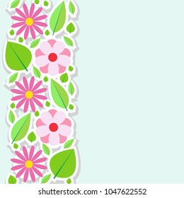 Spring flowers border. Vector illustration.