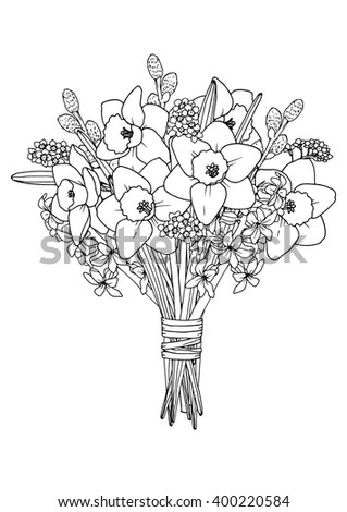 Spring Flowers Bouquet Coloring Book Page Stock Vektorgrafik