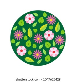 Spring flowers, circle pattern. Vector illustration.