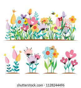 Spring flowers Design Concepts vector illustrations isolated on White