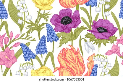 Spring flowers. Flower vintage seamless pattern. Oriental style. Tulips, buttercups, hyacinth, freesia, anemones, lily of the valley, snowdrops. Colorful background for textiles, paper, wallpaper.