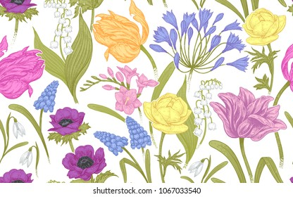 Spring flowers. Flower vintage seamless pattern. Oriental style. Tulips, buttercups, hyacinth, freesia, anemones, lily of the valley, snowdrops, African lily. Background for textiles, paper, wallpaper