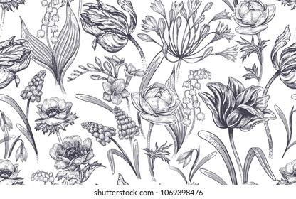 Spring flowers. Flower vintage seamless pattern. Oriental style. Tulips, buttercups, muscari, freesia, anemones, lily of the valley, snowdrops, African lily. White and black background.
