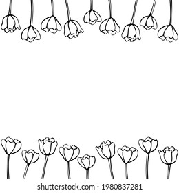 Spring flowers. Frame from outline tulips. Vector doodle hand drawn isolated. Horizontal top and bottom edging, border, decoration for greeting card, invitation, Valentine's, Women's or Mother day
