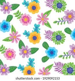 spring flowers garden pattern background