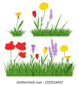 Spring flowers in grass vector cartoon flat simple set isolated on a white background.
