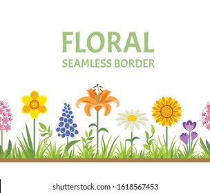 Spring flowers and green grass seamless border. Vector illustration of Chamomile, Gazania, Lily, Daffodil, Crocus, hyacinth and muscari in cartoon simple flat style. Flowering meadow.