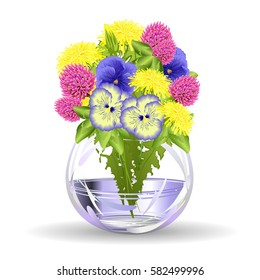 small flower vase. Spring flowers. Hand drawn realistic vector illustration on yellow dandelions purple clover and blue  sc 1 st  Shutterstock & Flowers in Small Vases Stock Vectors Images \u0026 Vector Art | Shutterstock