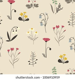 Spring Flowers and Herbs. Floral Ornament for Textiles.