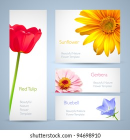Spring flowers invitation brochure template card layout. Background design for banners