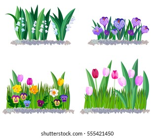 Spring flowers lily of the valley, crocus and tulips borders elements isolated on white.