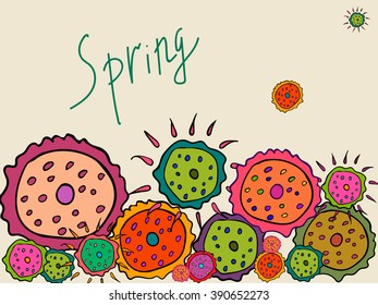 Spring flowers on a beige background. It can be used as greeting card for birthday, Valentine's Day et al., Invitations. Also for printing on packaging, bags, cups, laptop, etc. Vector illustration.