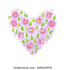 Spring flowers on heart grunge textured background. Vector illustration.