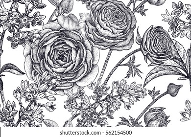 Spring flowers seamless floral pattern. Hand drawing garden plants buttercup, lilac, black on white background. Vector vintage illustration. For wrapping, fabric, fashion, paper, packaging, textile.