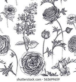 Spring flowers seamless floral pattern. Hand drawing garden plants buttercup, lilac, freesia, anemone. Black and white. Vector vintage illustration. For wrapping, fabric, fashion, paper