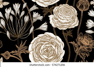 Spring flowers seamless floral pattern. Hand drawing garden plants buttercup, anemones, African lily, butterfly. Black, white and gold foil. Vector vintage illustration. For fabric, fashion, paper.