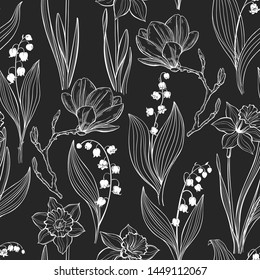 Spring flowers. Seamless pattern with magnolia, lily of the valley and narcissus on a black background. Vector. Line art.