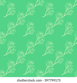 Spring flowers seamless pattern. Sketch style outline flowers. Vector illustration.