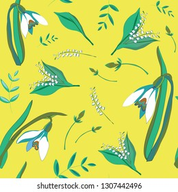 Spring flowers. Seamless pattern. Vector illustration of snowdrops and lily of the valleys on yellow background
