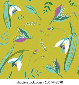 Spring flowers. Seamless pattern. Vector illustration of snowdrops and lily of the valleys on green background