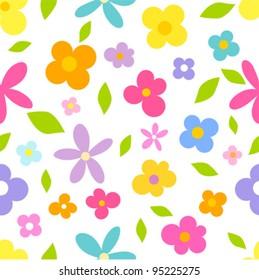 Spring flowers - seamless vector pattern