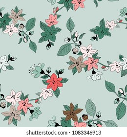 Spring flowers seamlesss pattern. Vector illustration of cherry blosssoms on light green background