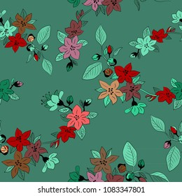 Spring flowers seamlesss pattern. Vector illustration of cherry blosssoms on green background