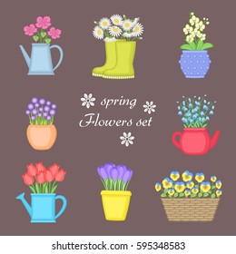 Spring flowers set. Bouquet of flowers planted in different pots. Watering can, basket, rubber boots. Orchid, chamomile, bells, tulips, violets, crocuses. Vector illustration.
