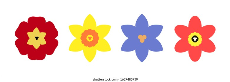 Spring flowers set - red primrose, yellow daffodil, blue crocus and scarlet tulip icons in flat style. Spring and Easter holiday symbol. Vector illustration on white background.