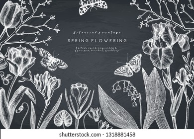 Spring flowers and trees design.  Floral elements, buds, leaves drawings. Hand drawn botanical illustrations. Garden plants sketches on chalkboard. Vector invitation or greeting card template.