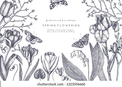Spring flowers and trees design. Floral elements, buds, leaves, twigs drawings. Hand drawn botanical illustrations. Garden plants sketches. Vector invitation or greeting card template. Vintage art.