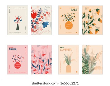 Spring flowers in vase and floral background bright vintage vector illustration. Magazine, book, newspaper or card design template. Flat concept of branches and leaves for flyers, brochure design.