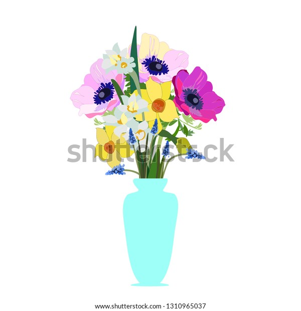 Spring Flowers Vase Vector Isolated Anemones Stock Vector ... on books vector, basket vector, art vector, box vector, decor vector, candle vector, animals vector, roses vector, floral vector, pottery vector, mirror vector, beer mug vector, teapot vector,