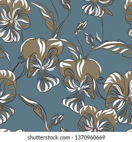 Spring flowers, violets. Seamless pattern. Vector image. Design, print for textiles.
