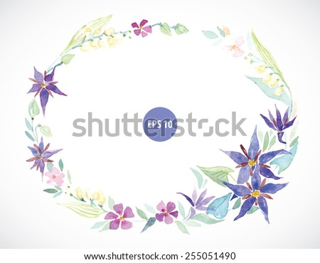 spring flowers wearth, watercolor frame
