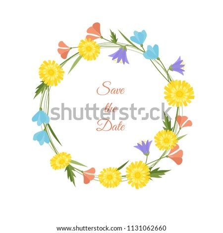spring flowers wreath vector illustration wedding stock vector