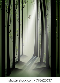 spring forest and birds, March in the forest, vector
