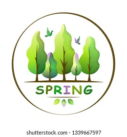 Spring forest landscape in a circle. Spring tones trees and birds. Environment and ecology concept. For social media, web pages, bammer, poster, education materials. Flat isolated vector illustration.