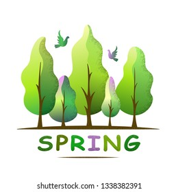 Spring forest landscape. Spring tones trees and birds. Environment and ecology concept. For social media, web pages, bammer, poster, education materials. Semi flat isolated vector illustration.