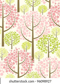 Spring forest. Seamless pattern in green.