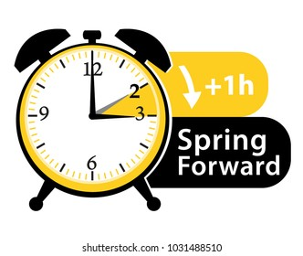 Spring forward. Daylight saving time. Summer time. Alarm clock vector icon.