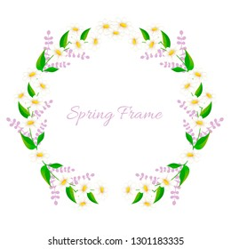 Spring frame with daisies. Vector design